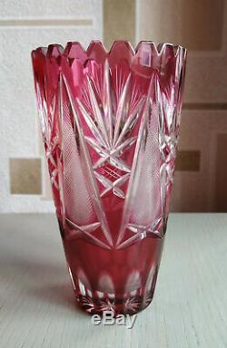 Vintage Bohemian Cut Glass Crystal Ruby Red Vase