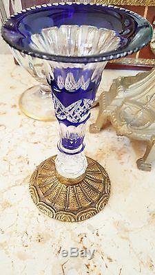 Vintage Bohemian Cut To Clear Crystal Trumpet Bud Vase Embossed Brass Base Foot