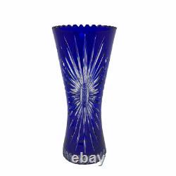 Vintage Bohemian Czech Cobalt Blue Cut to Clear Crystal Vase 11 Hand Cut
