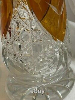 Vintage Bohemian Czech Crystal Amber Cut To Clear & Clear Cut 12 Vase