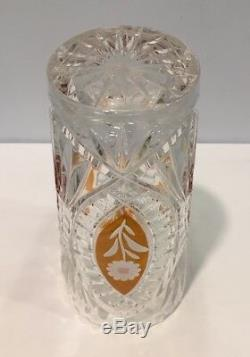Vintage Bohemian Czech Crystal Amber Cut To Clear & Clear Cut 8-1/4 Vase MINT