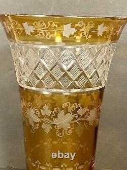 Vintage Bohemian Czech Crystal Amber Cut To Clear Crystal Vase 8 Sunflower