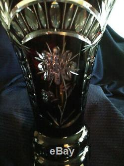 Vintage Bohemian Czech Deep Ruby Crystal Hand-cut Large Vase Late 19th Century