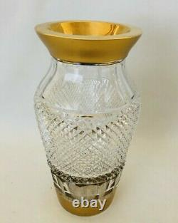 Vintage Bohemian Czech Heavy Diamond Cut Crystal Vase with Gold Trim