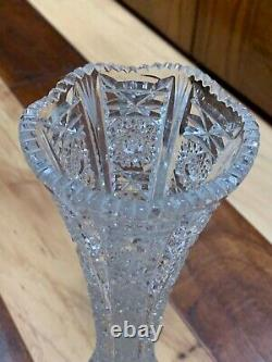 Vintage Bohemian Czech Queen Cut Lace 11 Bud Vase Crystal Pedestal Base Star Eu