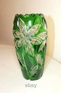 Vintage Bohemian Czech green cut to clear glass crystal flower floral vase