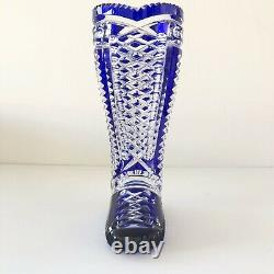 Vintage Bohemian German Cobalt Blue Hand Cut Crystal Boot Vase