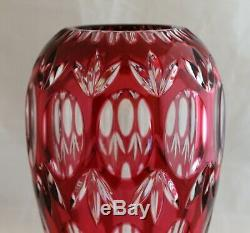 Vintage Bohemian Imperlux Cut Glass Crystal Ruby Red Vase Circle Fans 8 1/4