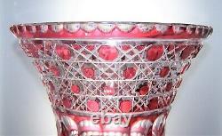 Vintage Bohemian Lead Crystal Cane Hobnail Cut Glass Urn Shaped Vase 2.5 kg