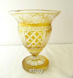 Vintage Bohemian Moser Amber Yellow Cut to Clear Crystal Vase Floral Intaglio