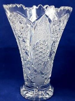 Vintage Bohemian Queen Lace Hand Cut Leaded Crystal Vase 8 1/4 TWide Opening
