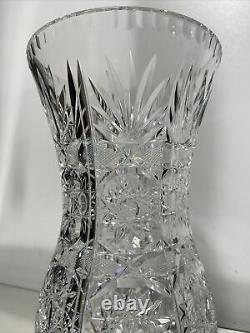 Vintage Bohemian lead crystal hand cut vase