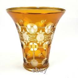 Vintage CZECH ART GLASS 8 Vase Bohemian Crystal Floral Amber Gilt CUT TO CLEAR