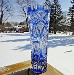 Vintage Cobalt Blue Cut to Clear Crystal Vase