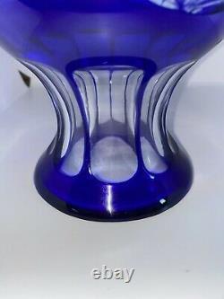 Vintage Cobalt Blue Czech Bohemia Cut to Clear Crystal Large Vase