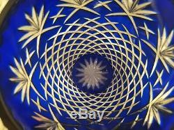 Vintage Cobalt Blue Czech Bohemian Lead Crystal Cut to Clear Heavy Vase