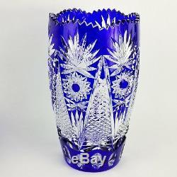 Vintage Crystal Art Glass Hand Cut Hobstar Vase Cobalt Blue Cut to Clear 11.75