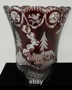 Vintage Crystal Bohemian Red Cranberry Cut To Clear Glass Turkey 10 x 8 Vase