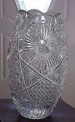 Vintage Crystal Vase 12 Signed Quality Fine Hand Cut Original A3