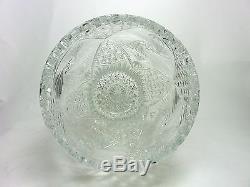 Vintage Crystal Vase Cut Glass Artist Signed