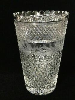 Vintage Cut Crystal & Etched Flowers Vase, 8 Tall x 5 Diameter, Weight is 3 Lb