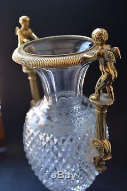 Vintage Cut Crystal Ormolu Mounted Vase with cherubs