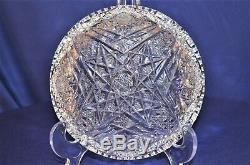 Vintage Cut Crystal Shallow Bowl w. Star Designs 6 Home Decor Wedding Vase