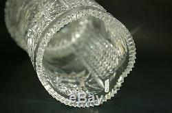 Vintage Cut Crystal Vase Artist Signed Large Brilliant Glass Vase
