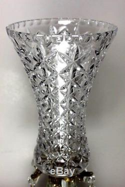 Vintage Cut crystal vase with brass Marble base with Teardrop Prisms 15 inch H