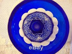 Vintage Czech Bohemian Cobalt Cut to Clear Glass Crystal Vase