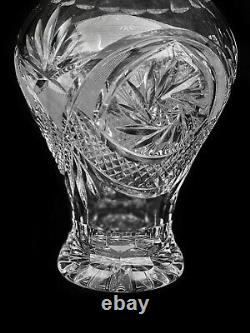 Vintage Czech Bohemian Cut Crystal Glass Vase