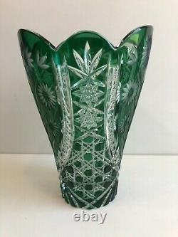 Vintage Czech Bohemian Green Cut to Clear Large Cut Crystal Glass Vase, 11 Tall