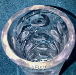Vintage Czechoslovakia Bohemia Hand Cut Lead Crystal Vase, Floral Design, 12 T