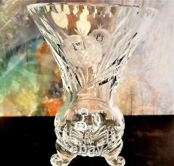 Vintage Czechoslovakian Vase Hand Cut Polished 24% Clear Lead Crystal Bohemia