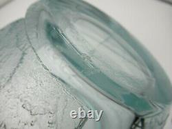 Vintage DAUM NANCY FRANCE Art Deco Acid Cut Back Carved Heavy Teal Glass Vase