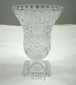 Vintage Diamond Point Cut Glass Crystal Vase