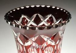 Vintage Geometric Art Deco Cranberry Red Cut to Clear Crystal Bohemian Vase