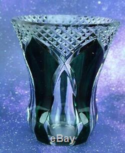 Vintage Green Cut to Clear Crystal Vase, signed Val st Lambert (BI#MK/191112)