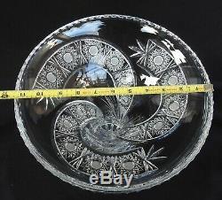 Vintage Hand Made Large 12 Cut Crystal Vase with Spiral Design Statement