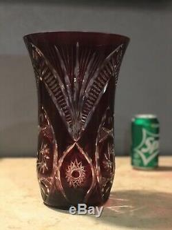 Vintage LARGE 10 1/2 Tall Crystal Ruby Vase Cut To Clear Czech Bohemian Vase