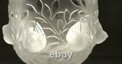 Vintage Lalique Elizabeth Crystal Bowl Bird Leaves Footed Pedestal Vase France