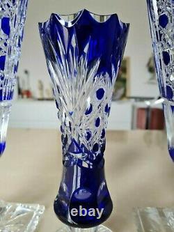 Vintage Large 41.5cm Cobalt Blue Bohemian Cut Crystal Vases set of 3! Excellent