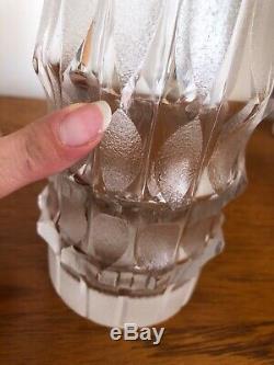 Vintage Large Cut Crystal Glass Clear & Frosted Modernist 1960s Vase