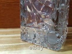 Vintage Large Cut Crystal/glass Vase 10 1/2 Tall 3 Square Flowers/leaves