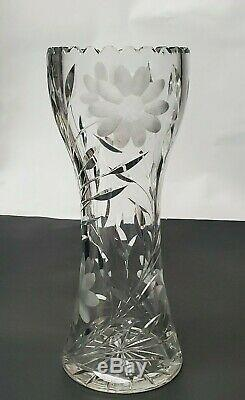 Vintage Large Hand-cut Lead Crystal Decorative Etched Heavy Glass Flower Vase
