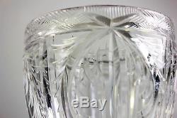 Vintage Large Heavy Crystal Cut Glass Vase Beautiful Shape