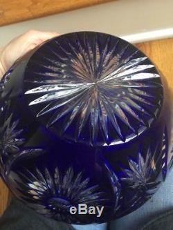 Vintage Large Round Cobalt Cased Crystal Cut To Clear Rose Bowl Vase Poland 9