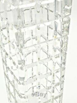 Vintage Large Square Cut Clear Crystal Glass Vase 11 Tall Heavy MCM Mid Century