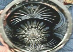 Vintage Lausitzer Lead Crystal Vase Cut Black to Clear GDR Germany 10 1/2 EX