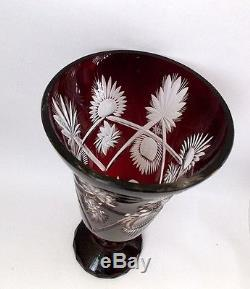 Vintage Mid 20th century Vase Ruby Cut Crystal glass. Bohemian czechoslovakia
